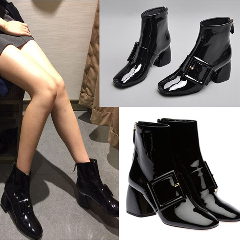 femmes Back Zipper Patent Leather Buckles Ankle bottes Square Toe chaussures Fashion