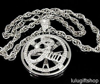 G-UNIT SPINNER SILVER PLATED MENS HIP HOP PENDANT CHAIN NECKLACE ICED OUT BLING