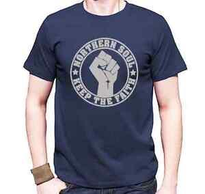 camiseta-Northern-Soul-azul-marino-con-el-logotipo-Keep-la-faith-musica-danza