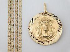 3d Jesus Face Charm 14k Yellow Gold Pendant 18 Inch
