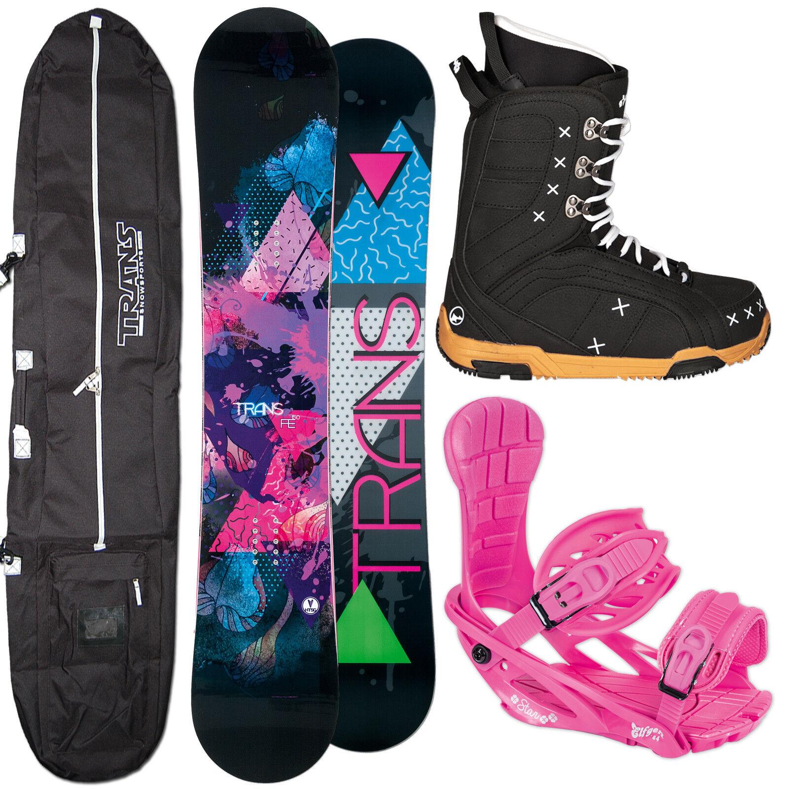 Snowboard Mujer Fe Trans Roquero 143cm + Star Fijación Talla M + botas + Bolsa
