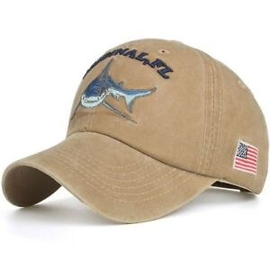 Baseball Cap Fishing Shark USA Flag Cotton Washed Vintage Original ... 293625459af6