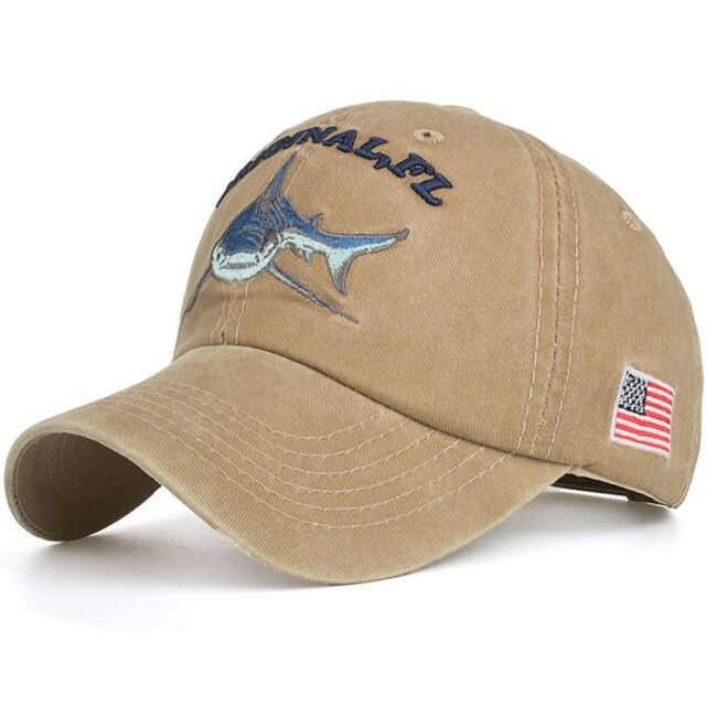 Baseball Cap Fishing Shark USA Flag Cotton Washed Vintage Original FL Embroidery