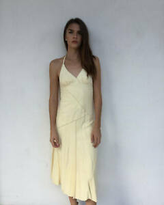 Vintage-VTG-90s-does-70s-1990s-1970s-Suede-Boho-Bohemian-Cream-Halter-Dress