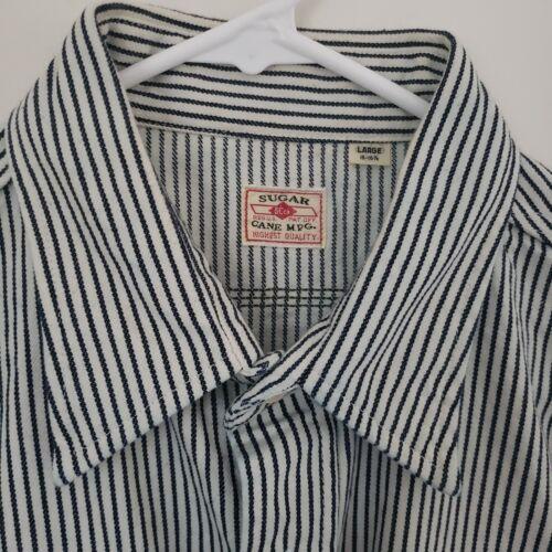 Sugar Cane Hickory Stripe Work Shirt L Short Slee… - image 1