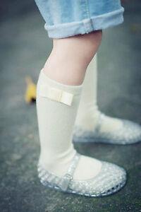 Girl-Kid-baby-Princess-Creamy-White-Below-knees-Calf-High-Bow-Cotton-Socks-1-5yr