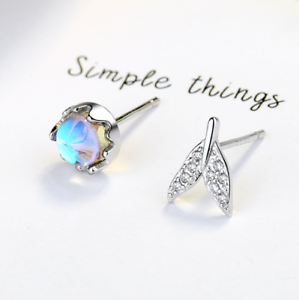 Mermaid-Tail-Tear-Teardrop-Blue-Crystal-Ball-925-Silver-Studs-Earrings-Gift-J5