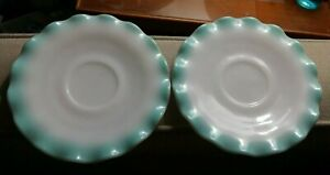 Vintage-two-white-and-blue-green-saucers-with-scalloped-edges