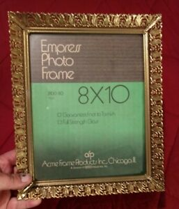 "Vintage Metal Picture Frame w Glass for 8""x10"" Empress Photo Frame Home Decor"