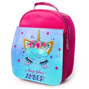 Image Is Loading Personalised Lunch Bag Unicorn Insulated Pink School S