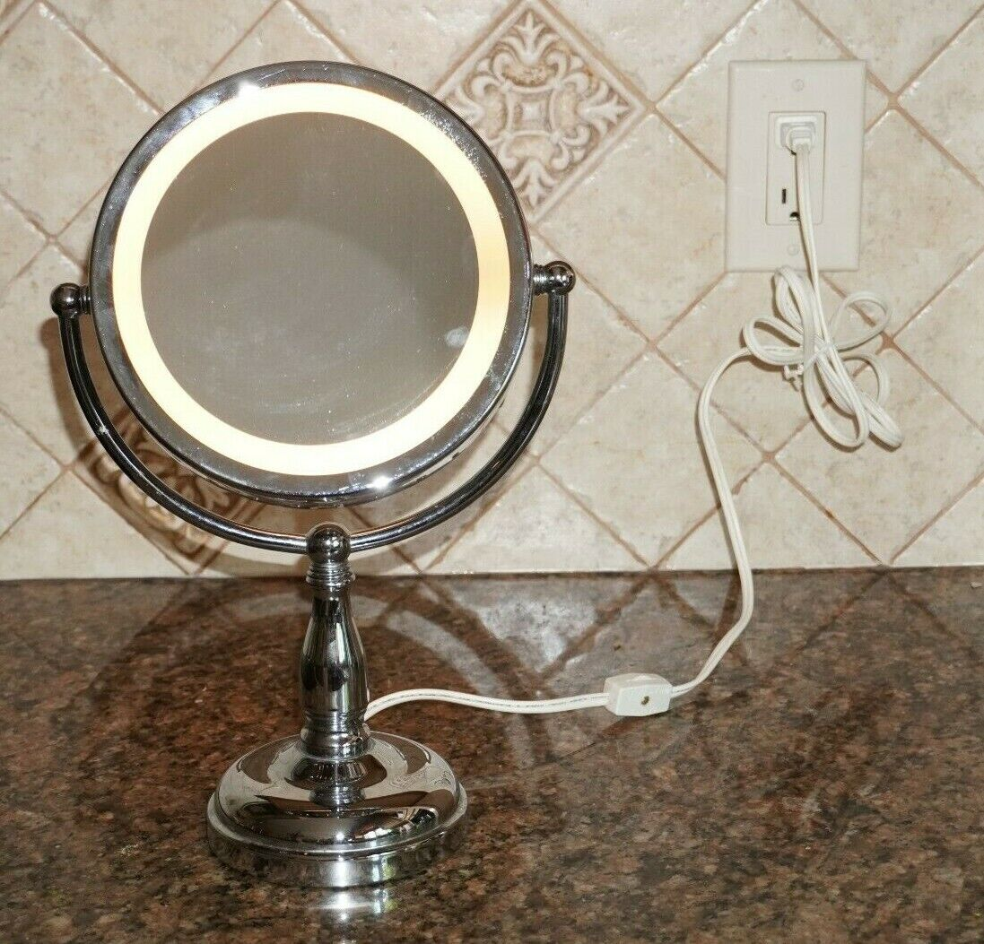 CHROME PLUG IN vanity LIGHT UP MIRROR with SOFT GLOW LIGHT - UL LISTED - EUC