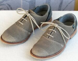 6-5-Ahnu-Emeryville-Oxford-Women-Tan-Gray-Textile-Leather-Perfed-Lace-Up-Flat
