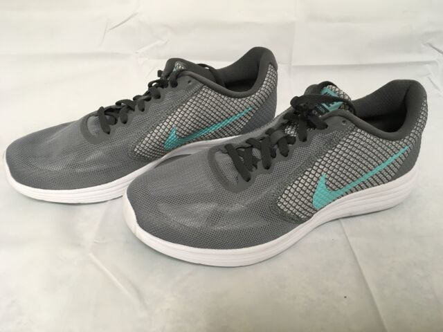 new concept cb7bc ab841 Nike Women s Revolution 3 Running Shoes Sz 9R US Grey Aurora Green Drk Gry