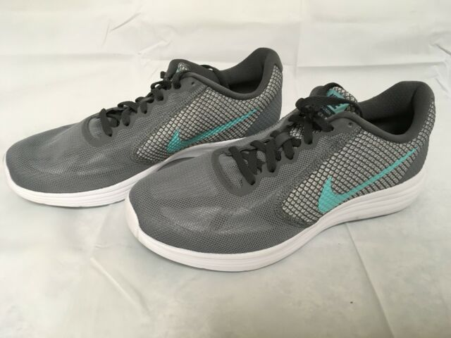 a59325e98be8 Nike Women s Revolution 3 Running Shoes Sz 9R US Grey Aurora Green Drk Gry