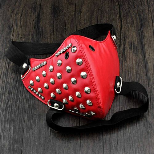 Women Girl Half Face Studded Red Leather Mask Biker Rock Custome Masquerade
