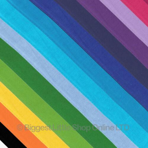 NEW Mens Ladies PLAIN Cotton Bandana//Bandanna Head Scarf//Bikers Colours//Colors