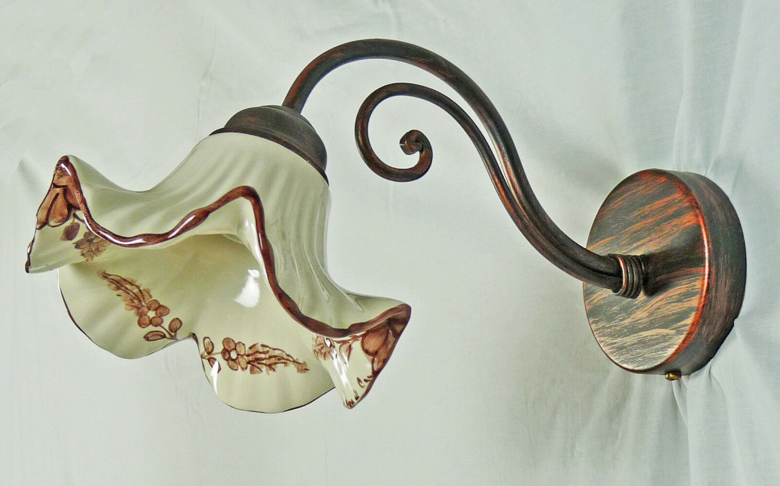 Applique ceramica led led led ferro battuto artigianale rustico
