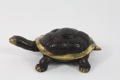 Skulptur Figur Bronze teilpoliert Schildkröte