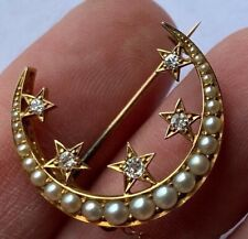 Antique Diamond and PEARL 18ct Yellow Gold Crescent Brooch Circa 1890