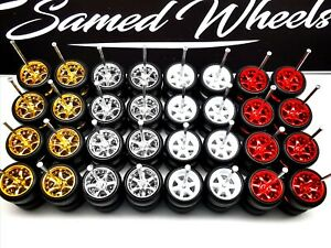 16 set 6 spoke multi color MIX Premium rubber wheels for 1:64 HW car