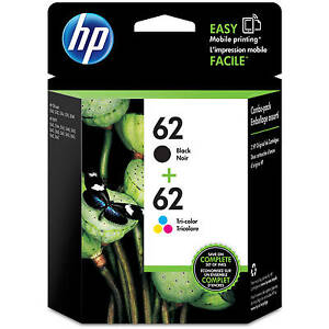 HP 62 Combo Ink Cartridges 62 Black Color NEW GENUINE