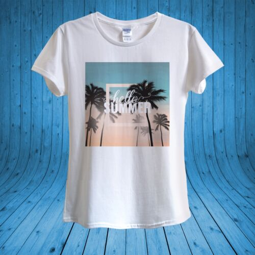 Hello Summer Print Palm Trees Summer Holidays T-shirt 100/% cotton unisex women