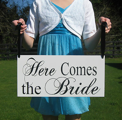Here comes the Bride Wedding Flower Girl Signs Decorations Photo Props