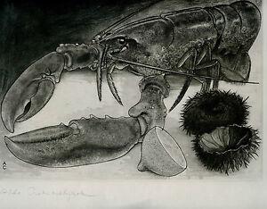 gravure-eau-forte-originale-d-039-Aldo-Crommelynck-signee-Nature-morte-Homard