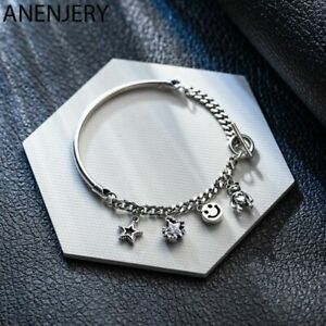 Damen-Armband-925-Sterling-Silber-Charme-Mond-Sterne-Armreif-Zirkon-Perle-Kette