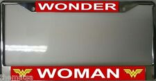 WONDER WOMAN METAL AUTO TAG CAR MADE IN USA CHROME LICENSE PLATE FRAME