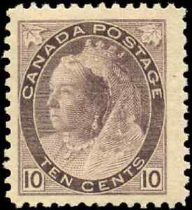 Canada-83-mint-F-VF-OG-small-HR-1898-Queen-Victoria-10c-Numeral-JUMBO-CV-475-00