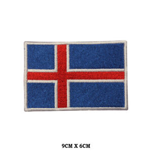 Iceland National Flag Embroidered Patch Iron on Sew On Badge For Clothe etc