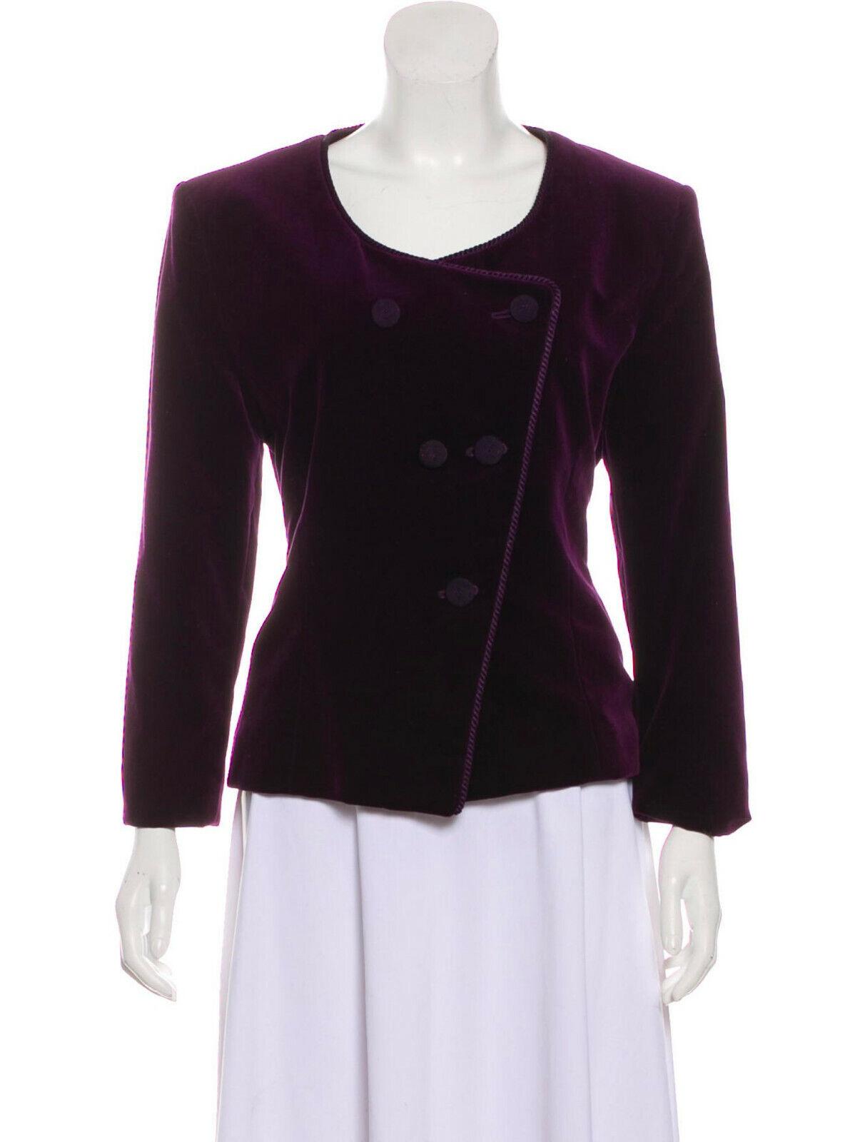 Christian Dior Strukturiert samt Jacke Blazer 10 M Lila Vintage Baumwolle
