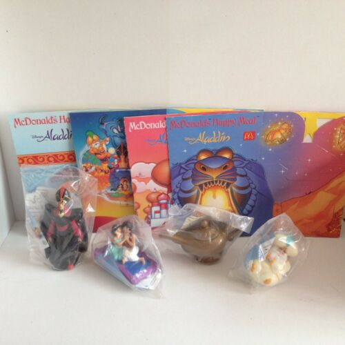 Vintage Disneys ALADDIN McDONALDS Happy Meal all 4x toys and boxes COMPLETE 1993