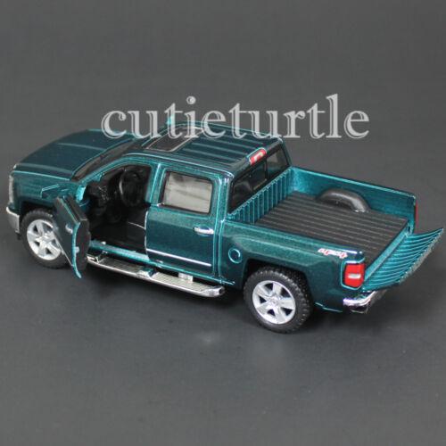 Kinsmart 2014 Chevrolet Silverado LTZ 4x4 Pick Up Truck 1:46 Diecast Car Green