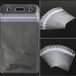 ID-Card-Badge-Holder-With-Zipper-10Pcs-Vertical-Transparent-Vinyl-Plastic-Clear