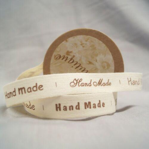 Bowtique coton naturel fait main polices ruban 15mm x 5m Bobine
