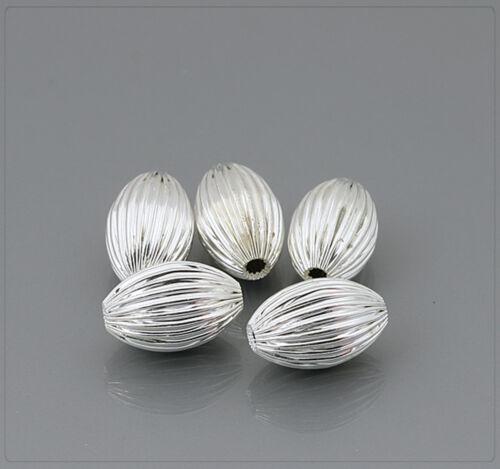 4x Metall Perlen aus Kupfer versilbert Schmuck DIY Basteln 10x15mm Olive sz385
