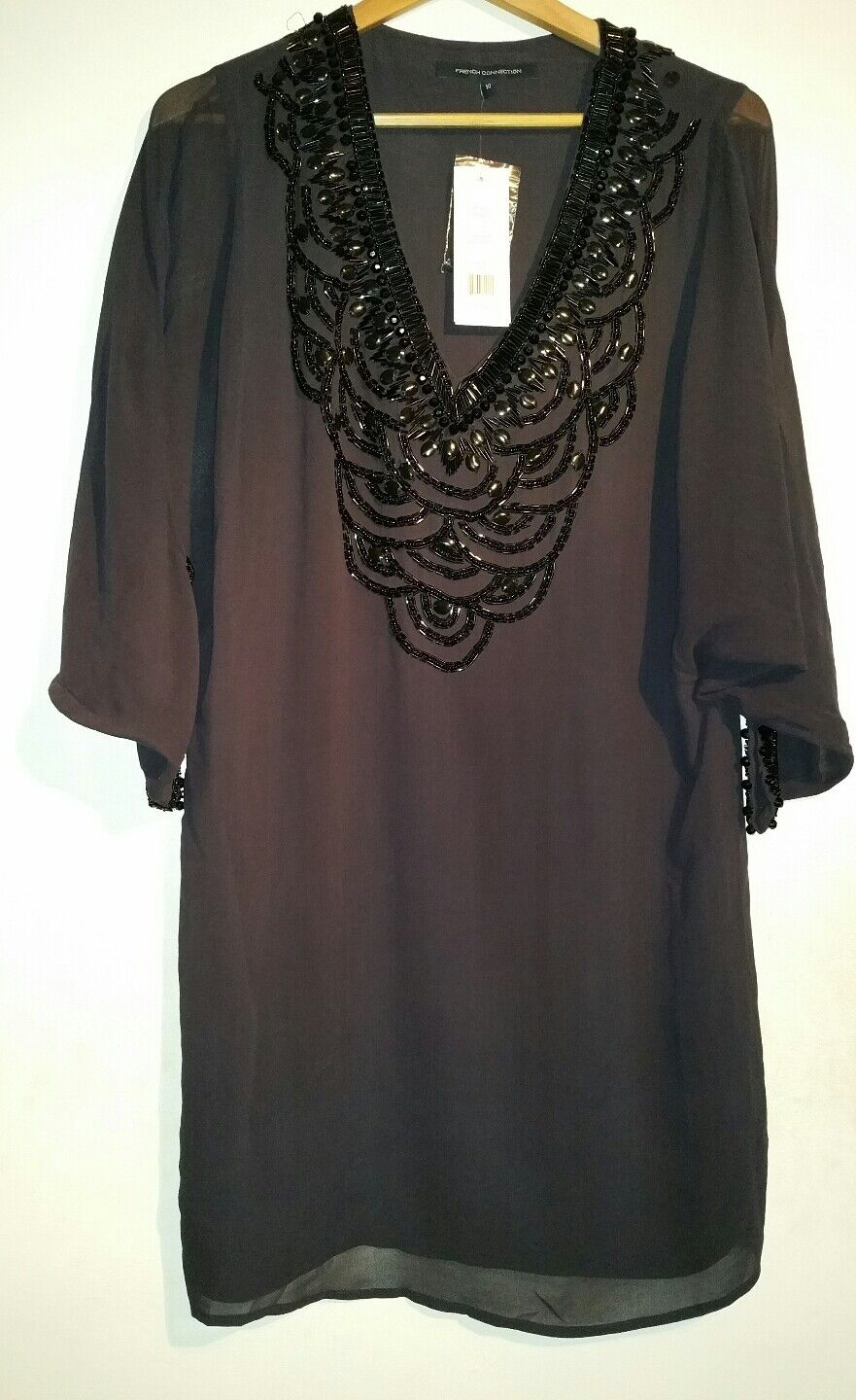 BNWT FRENCH CONNECTION WINTER GREY REBECCA BEADS DRESS SIZE 10