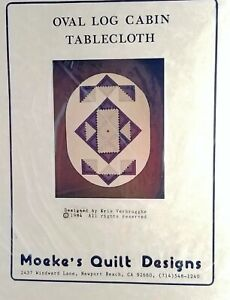 Tablecloth-Quilt-Pattern-Oval-Log-Cabin-60x84-inches-New-Vintage-Moeke-1984
