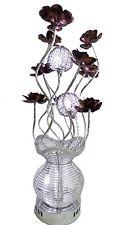 Contemporaneo in Alluminio Argento E Viola Fiore Design Lampada da tavolo luce g4 Lampadine