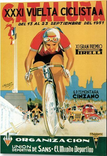 Vintage 1951 Vuelta Cataluna Spanish Cycle Race Poster Print A3//A4