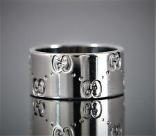 273bb88b7 $1,500 Unisex Gucci ITALY Icon 18K White Gold 9mm Wide Large Ring Band Size  5.75