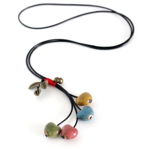 Beads Sweater Chain Lady Ceramic Fashion Jewelry Heart Shaped Pendant Necklace