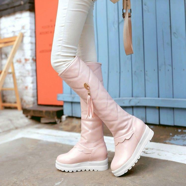 Round Toe Sweet Tassel Pull On Knee High Heel Boot Knigth Warm Women Winter shoes
