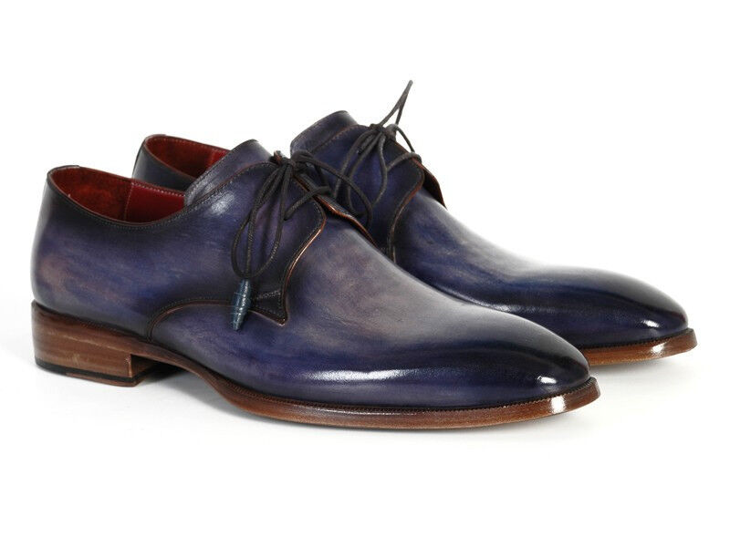 Paul Parkman Men's bluee & Navy Hand-Painted Derby shoes (ID PP2279)