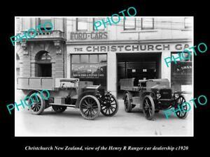 OLD-LARGE-HISTORIC-PHOTO-CHRISTCHURCH-NEW-ZEALAND-RANGER-CAR-DEALERSHIP-c1920