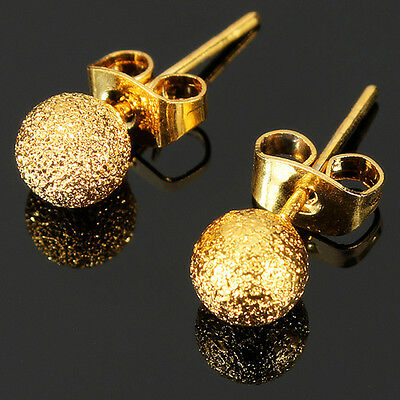 Cute Gold Filled Yellow Women Ladies Globular Stud Earrings Fashion Jewelry Gift