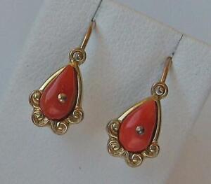 1-Paar-Ohrringe-Ohrhaenger-mit-Koralle-coral-in-aus-8-Kt-333-Gold-antik-earrings