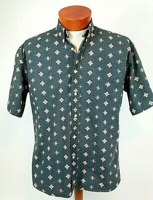 Supreme Mens Shirt Sz M Cotton Button Down Short Sleeve Green All